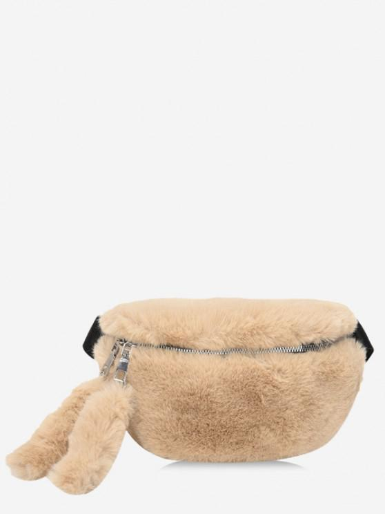 chic Faux Fur Solid Waist Chest Bag - LIGHT COFFEE
