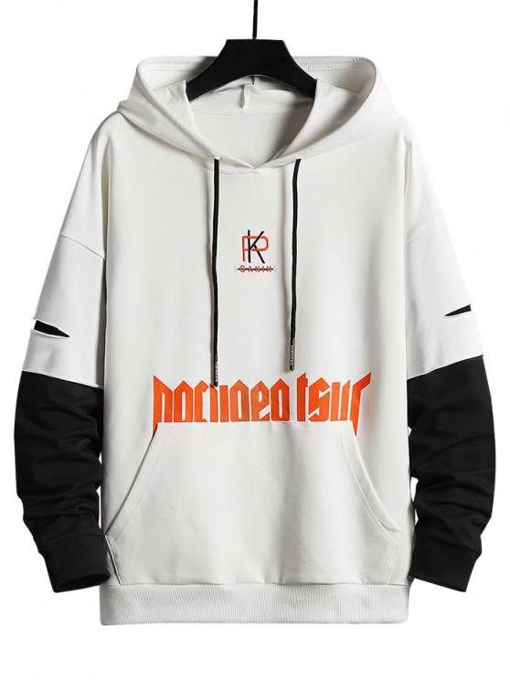 trendy Letter Embroidered Ripped Doctor Sleeve Hoody - WHITE XS
