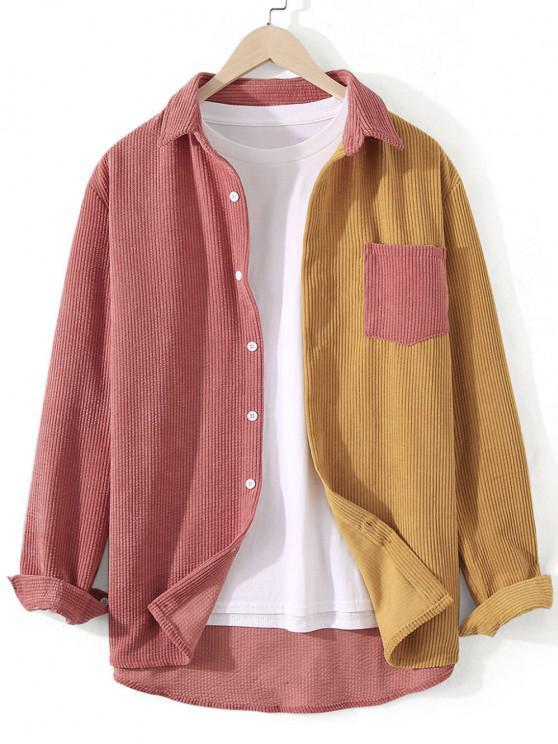 trendy Corduroy Colorblock Pocket Shirt - HALLOWEEN ORANGE M