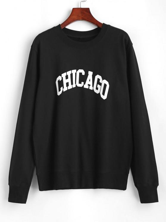 unique Crewneck Chicago Graphic Sweatshirt - BLACK M