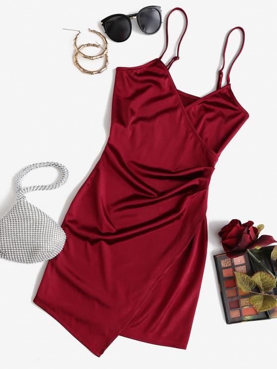 shops ZAFUL Draped Shiny Surplice Dress - RED WINE S