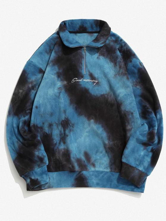 Tie Dye Good Morning Embroidery Fleece Sweatshirt - أزرق 2XL