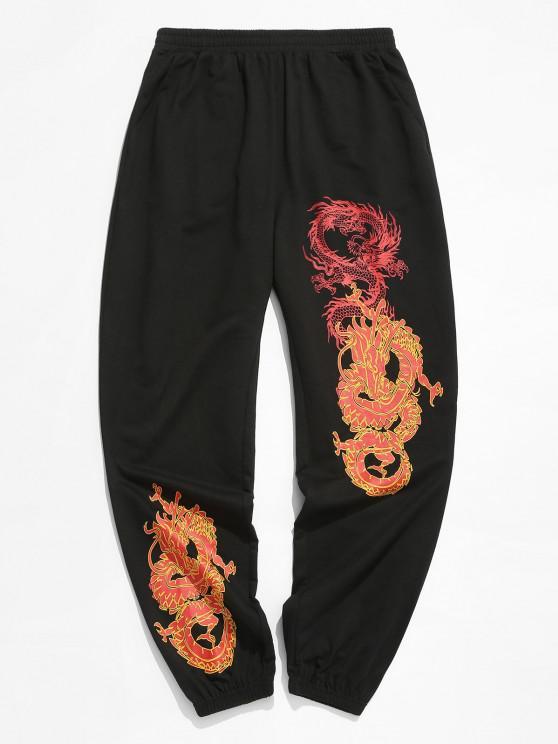 hot ZAFUL Dragon Print Drawstring Oriental Sweatpants - BLACK XL