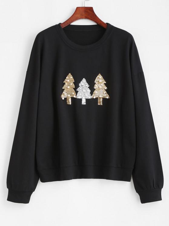 Beading Sequins Christmas Trees Sweatshirt - أسود S