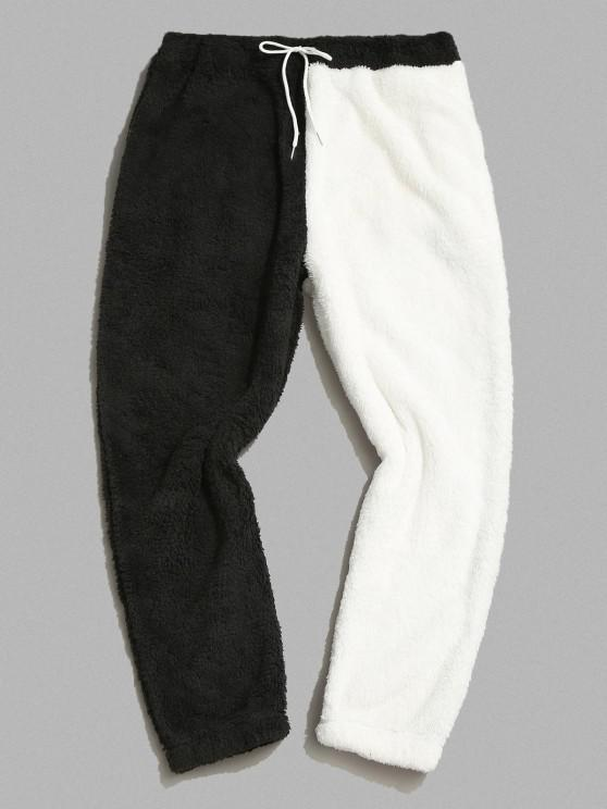 ZAFUL Pantalones Mullidos de Panel de Color Bloque - Negro M