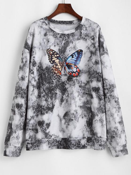 best Tie Dye Butterfly Printed Drop Shoulder Sweatshirt - BLACK M