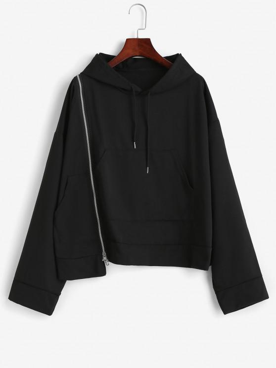 Drop Shoulder Zip Detail Pocket Hoodie - أسود XL