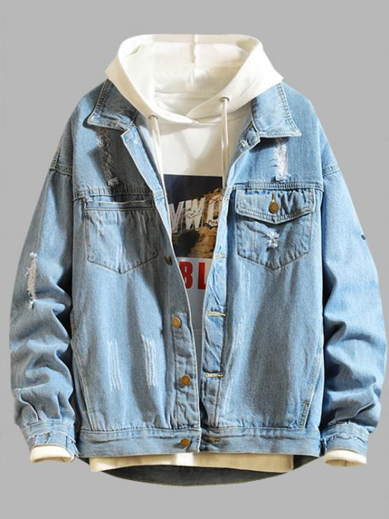 Ripped Frayed Patchwork Jean Jacket - أزرق 3XL