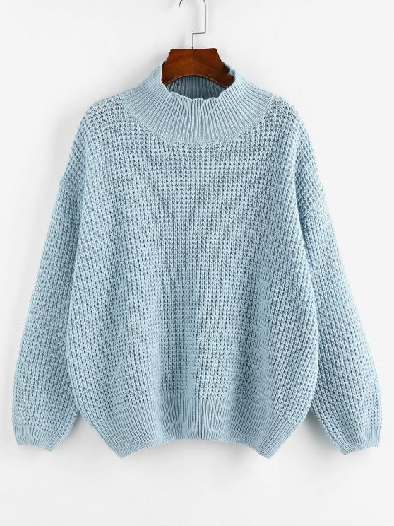 outfit ZAFUL Mock Neck Drop Shoulder Oversized Sweater - LIGHT BLUE L