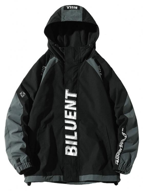 chic Colorblock Panel Letter Raglan Sleeve Hooded Jacket - BLACK 2XL