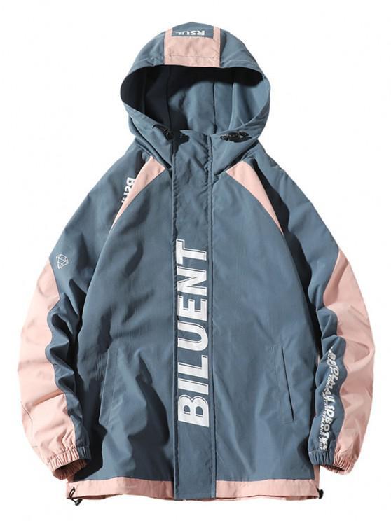 Colorblock Panel Letter Raglan Sleeve Hooded Jacket - أزرق 3XL