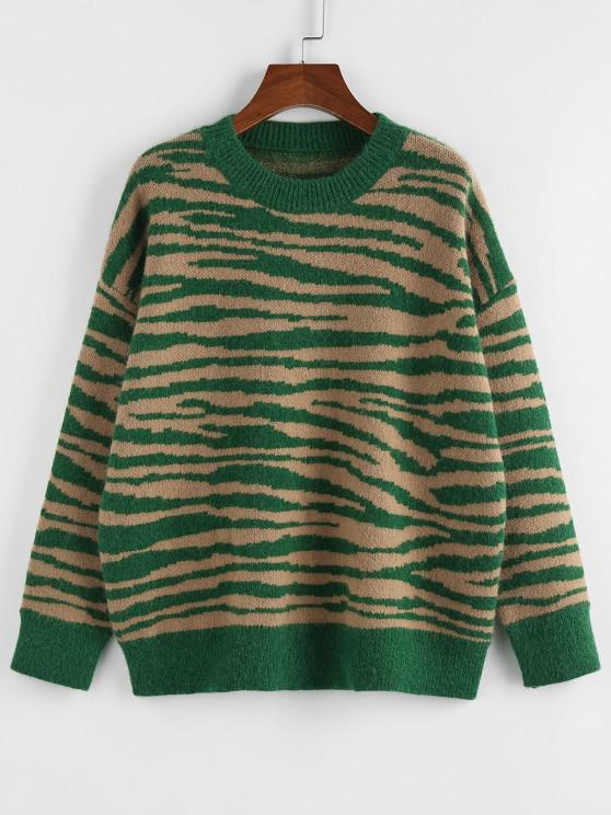 fancy ZAFUL Zebra Drop Shoulder Jumper Sweater - DEEP GREEN S