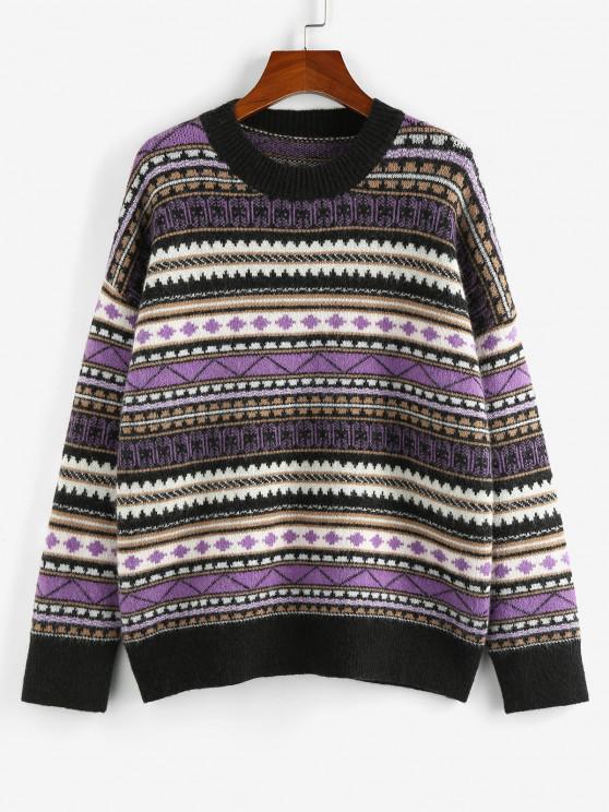 outfits ZAFUL Geo Drop Shoulder Jumper Sweater - MULTI S