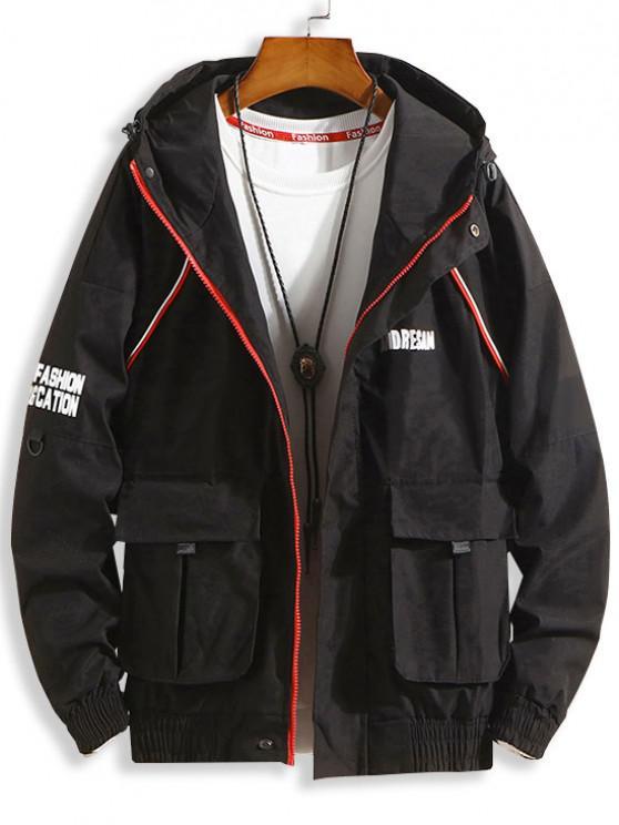 buy Flap Pocket Letter Drop Shoulder Hooded Jacket - BLACK 2XL