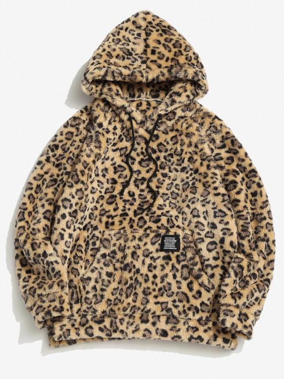 fancy ZAFUL Leopard Pattern Applique Fluffy Hoodie - DEEP YELLOW XS