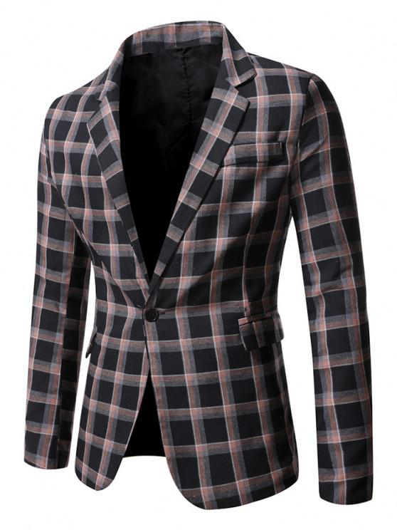 women's Windowpane Check Pattern Single Button Blazer - BLACK S