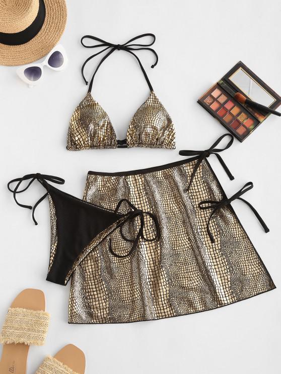 ZAFUL Metallic Snakeskin Ribbed Three Piece String Bikini Swimwear - ذهبي M