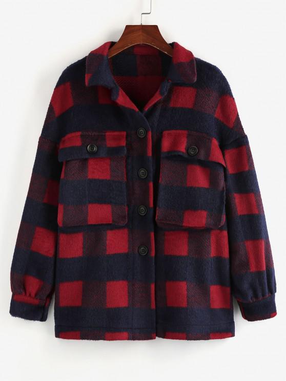 chic ZAFUL Checkered Drop Shoulder Pocket Coat - BROWN SUGAR L