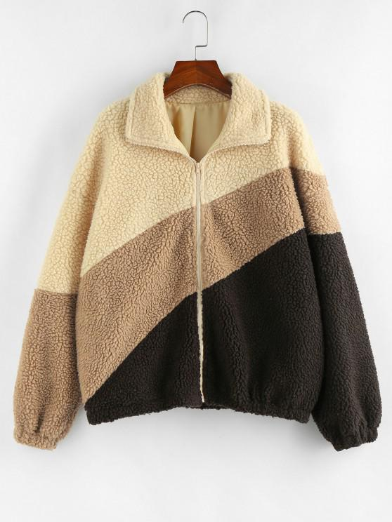 ZAFUL Drop Shoulder Colorblock Teddy Coat - دب بنى XL