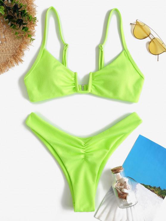 ZAFUL Neon Strukturierte U Draht Bikini Badebekleidung mit Hohem Ausschnitt - Grün S
