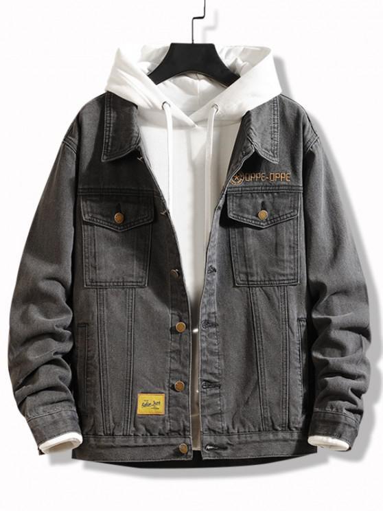 Slogan Embroidery Flap Pocket Jean Jacket - الرمادي الداكن XS