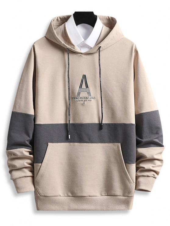 Letter Embroidered Front Pocket Contrast Hoodie - شامبانيا M