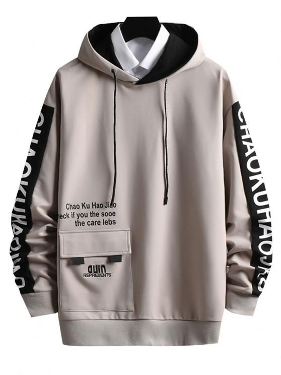 new Letter Embroidered Cargo Pocket Graphic Hoodie - VANILLA S
