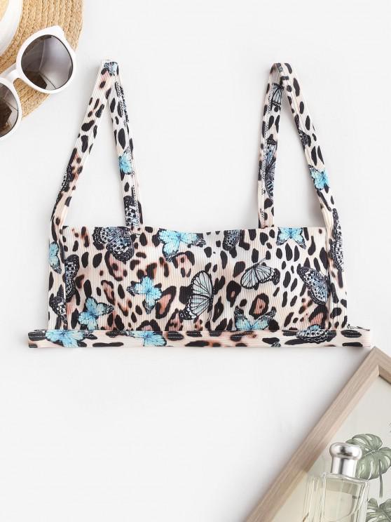 shops ZAFUL Ribbed Leopard Butterfly Print Bikini Top - MULTI S