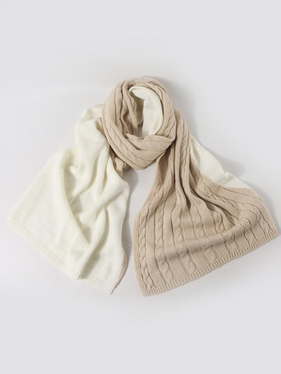 new Two Tone Contrast Knitted Scarf - BEIGE