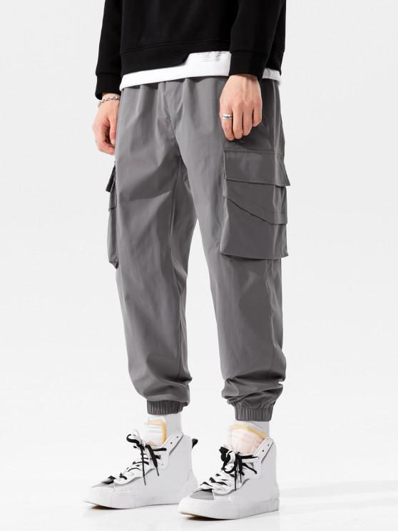 Solid Flap Pocket Beam Feet Pants - الرمادي الداكن XS