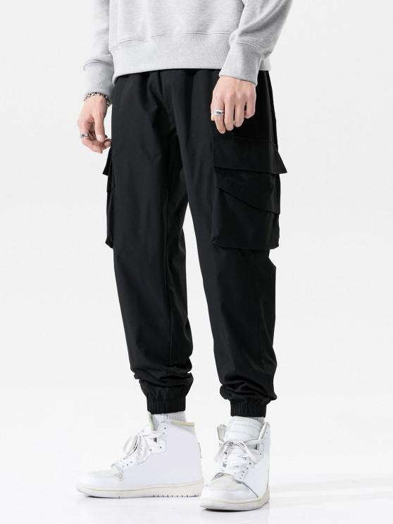 Solid Flap Pocket Beam Feet Pants - أسود M