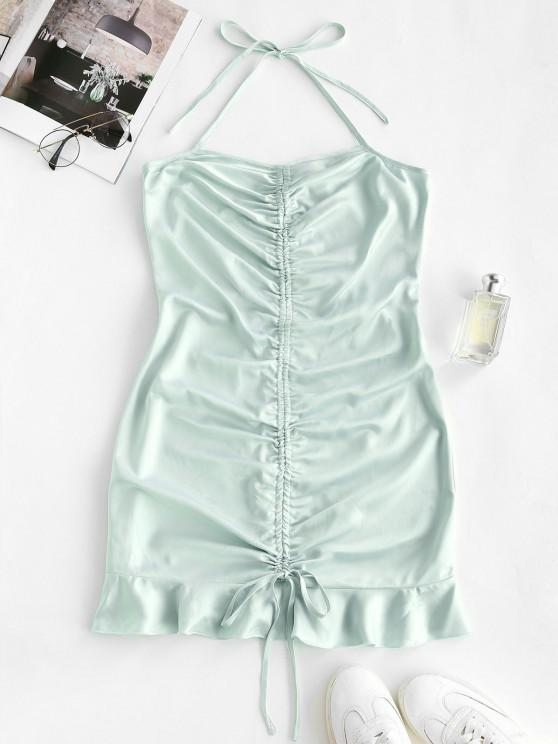 outfit Halter Cinched Flounce Bodycon Dress - LIGHT GREEN S