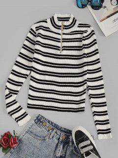Striped Ribbed Half Zip Jumper Sweater - White