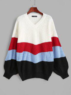 Lantern Sleeve Stripes Sweater - Multi