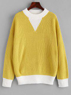 Elbow Patches Color Block Sweater - Rubber Ducky Yellow