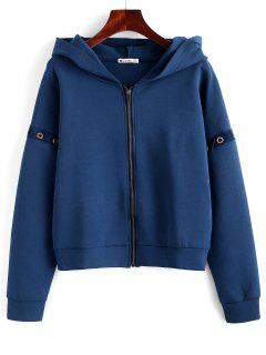 ZAFUL Eyelet Zipper Drop Shoulder Jacket - Cadetblue M