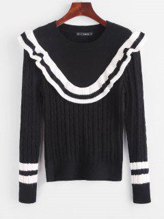 Suéter Com Babado Em Contraste - Preto
