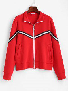 ZAFUL Striped Zipper Pocket Jacket - Red L