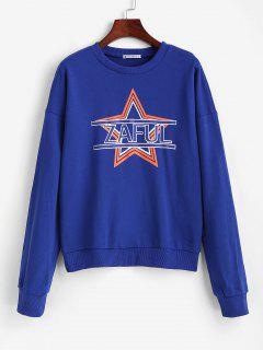 ZAFUL Star Drop Shoulder Sweatshirt - Blue M