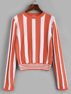 ZAFUL Color Block Stripe Pullover - Orange