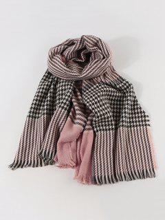 Faux Cashmere Houndstooth Scarf - Light Pink