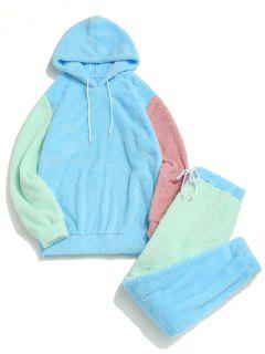 Colorblock Panel Fluffy Hoodie And Pants Two Piece Set - Light Blue M