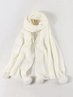 Knitted Faux Cashmere Pom Pom Scarf - White