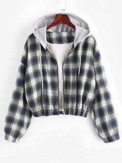 Hooded Faux Shearling Lined Plaid Jacket - Multi M