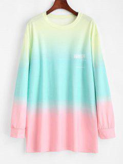 Ombre Dip Farbe Übergroßes Tunika Freund Sweatshirt - Multi S