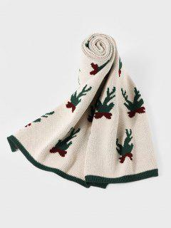 Christmas Colorblock Knitted Long Scarf - Beige