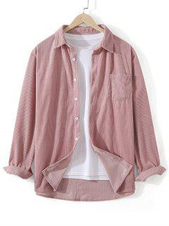 Vordertasche Einfarbiger Kord Hemd - Rosa 3xl