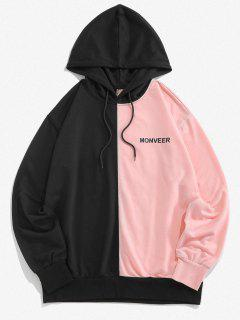 ZAFUL Letters Print Drawstring Contrast Hoodie - Light Pink L