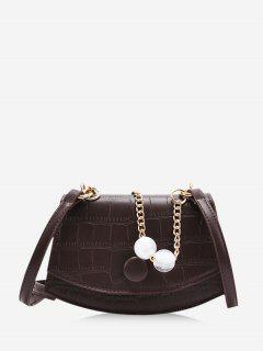 Cover Chain Beads Crossbody Bag - Coffee