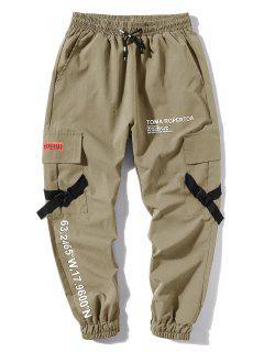 Letter Print Flap Pockets Cargo Jogger Pants - Light Khaki M